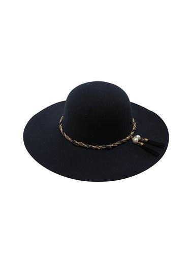 Laslusa İçten Ayarlanabilir Geniş Kenar Keçe Şapka Lacivert